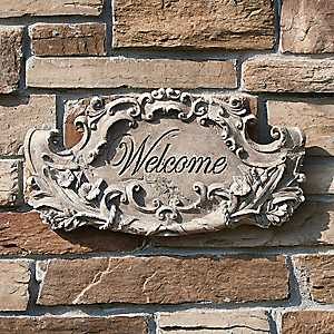 Distressed Faux Stone Welcome Sign
