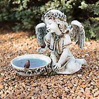Angel Statue and Solar Bird Bath