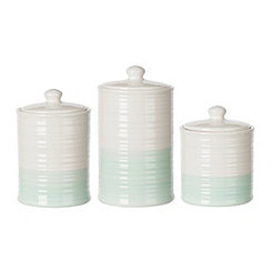 Two Tone Turquoise Ceramic Canisters, Set of 3