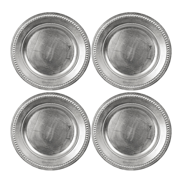 silver dot chargers set of 4