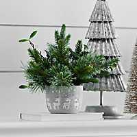 Pine Arrangement in Concrete Reindeer Pot