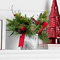 Pine and Birch Arrangement with Red Ribbon