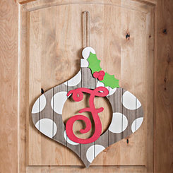 Christmas Monogram F Ornament Plaque