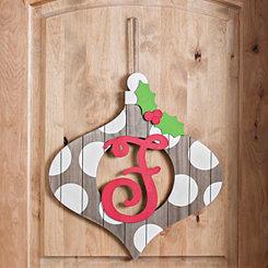 Christmas Monogram F Ornament Plaque