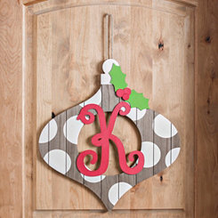 Christmas Monogram K Ornament Plaque
