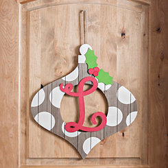 Christmas Monogram L Ornament Plaque