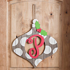 Christmas Monogram P Ornament Plaque