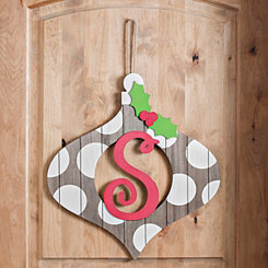 Christmas Monogram S Ornament Plaque