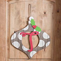 Christmas Monogram T Ornament Plaque