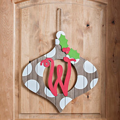 Christmas Monogram W Ornament Plaque