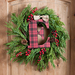 Buffalo Check Monogram E Christmas Letter