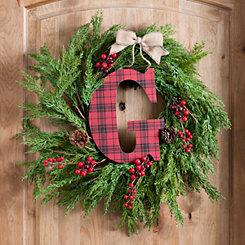 Buffalo Check Monogram G Christmas Letter