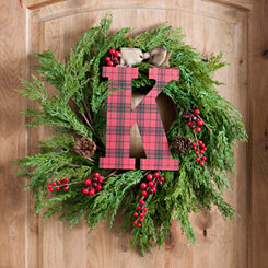 Buffalo Check Monogram K Christmas Letter