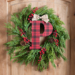 Buffalo Check Monogram P Christmas Letter