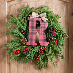 Buffalo Check Monogram R Christmas Letter