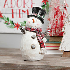 Plaid Scarf Black Top Hat Snowman Figurine
