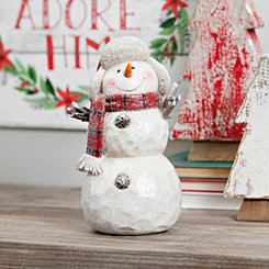 Plaid Scarf Flap Hat Snowman Figurine