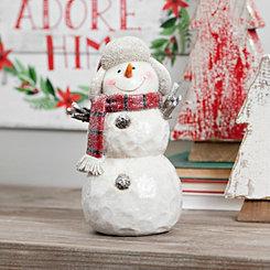 Plaid Scarf Flap Hat Snowman Figurine