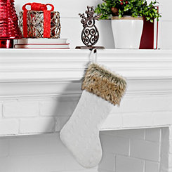 White Knit Stocking with Fur