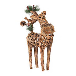 Rattan Reindeer with Head Forward Figurine