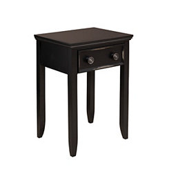 Ebony Black 1-Drawer Night Stand