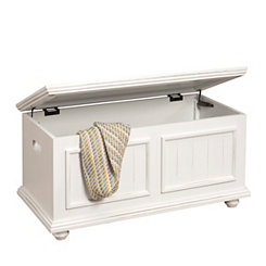 Bright White Wooden Storage Trunk