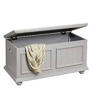 Winter Gray Wooden Storage Trunk