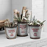 Set of 3 Galvanized Buckets with Rope Handles