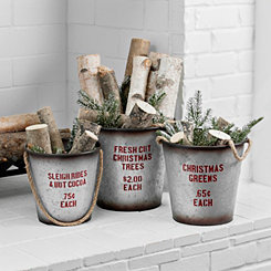 Galvanized Buckets with Rope Handles, Set of 3