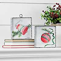 Classic Vintage Pink Ornament Signs, Set of 2