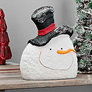 Black Top Hat Pulp Paper Snowman Head