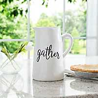 Gather White Ceramic Hammered Pitcher