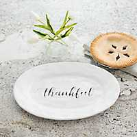 Thankful White Ceramic Hammered Platter