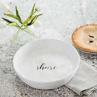 Share White Ceramic Hammered Serving Bowl