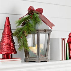 Floral Wood LED Christmas Lantern