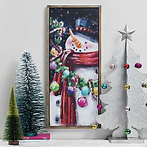 Colorful Snowman Framed Canvas Art Print