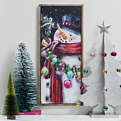 Colorful Snowman Framed Canvas Art Print