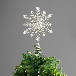 Glitter Snowflake 12 Point Star Tree Topper