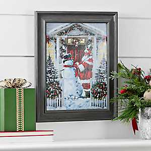 Snowman and Santa Framed Art Print