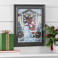 Snowman and Santa Framed Art Print