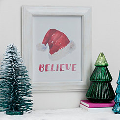 Believe Santa Hat Framed Art Print