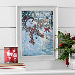 Old Fashion Christmas Snowman Framed Art Print