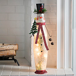 Pre-Lit Snowman With Tree Figurine