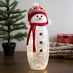 Pre-Lit Snowman with Knit Hat Figurine