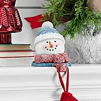 Blue Hat Snowman Mantel Stocking Holder