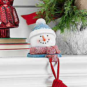 Blue Hat Snowman Mantel Stocking Holder