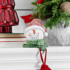 Red Hat Snowman Mantel Stocking Holder