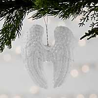 White Acrylic Angel Wings Ornament