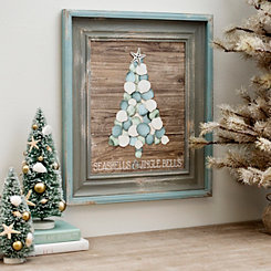 Seashells and Jingle Bells Framed Wood Art Print