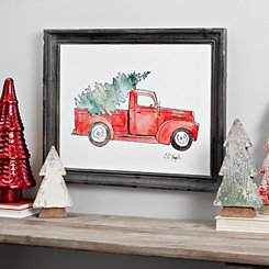 Truck Bringing The Tree Framed Art Print